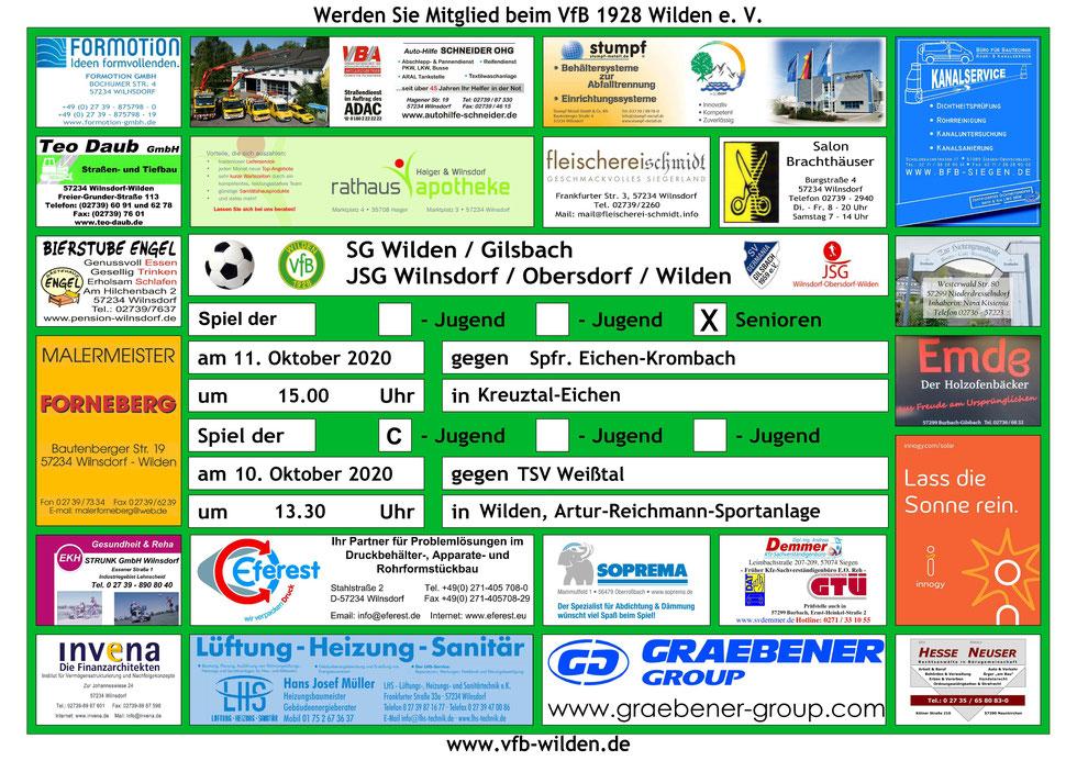 Sonntag 11.10.2020 15.00 Uhr Spfr. Eichen-Krombach II – SG Wilden/Gilsbach