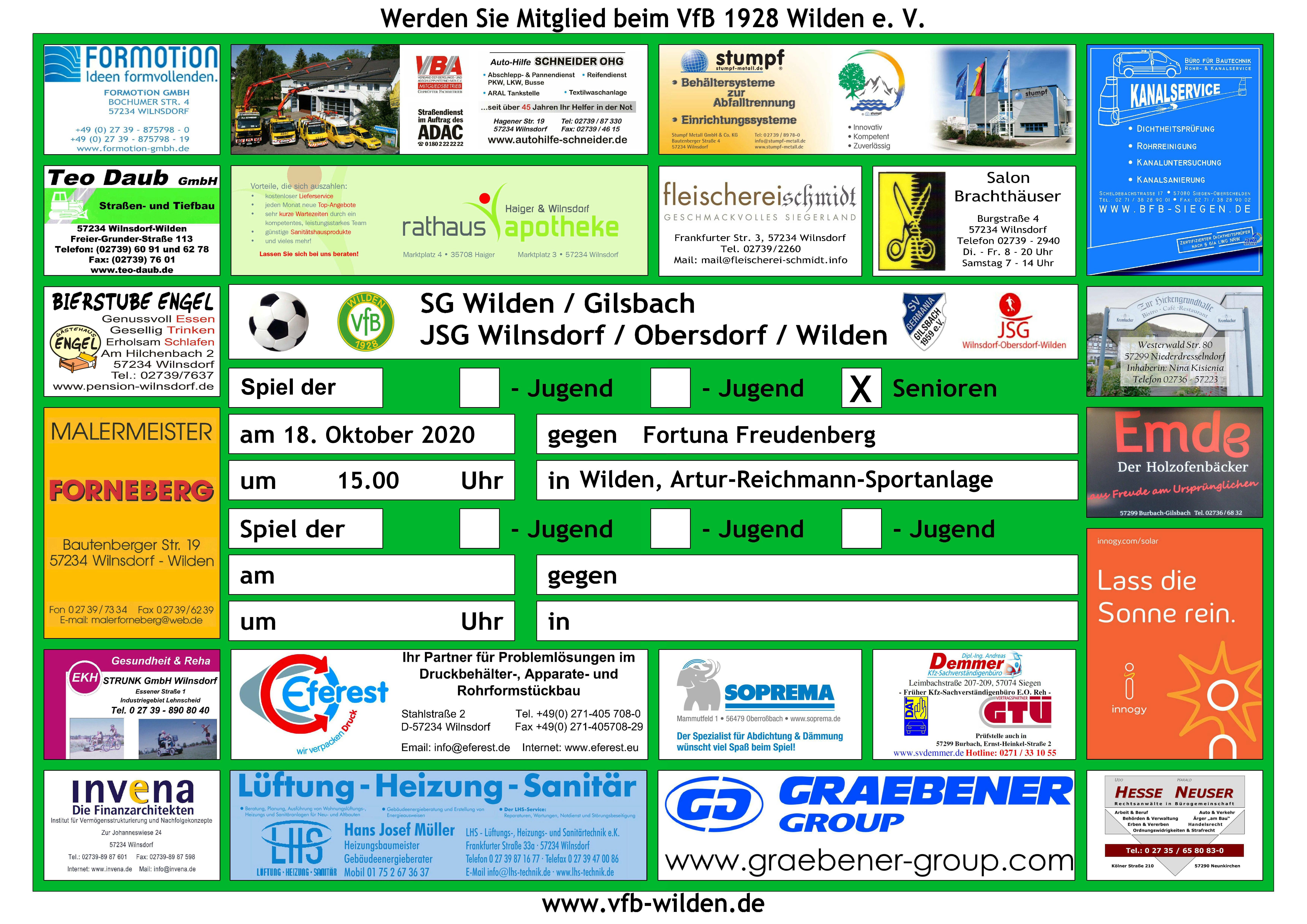 Sonntag 18.10.2020 15.00 Uhr SG Wilden/Gilsbach – SV Fortuna Freudenberg III